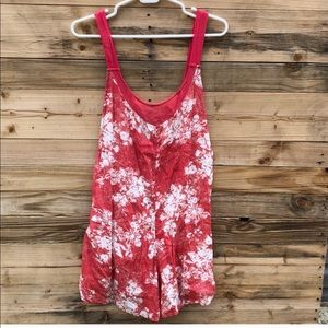 Free People | Red White Floral Romper size Small